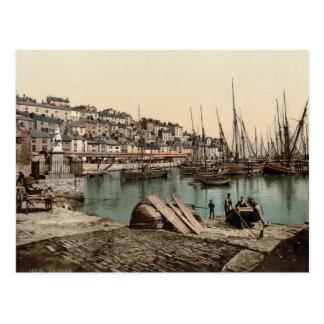 Cartão Postal Porto de Brixham, Devon c.1895