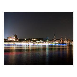 Cartão Postal Porto de Hamburgo na noite