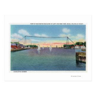 Cartão Postal Porto de Rochester e milícia naval de NY