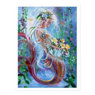 Cartão Postal Posies e pérolas, arte da sereia