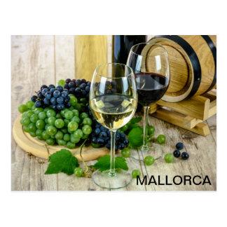 Cartão Postal postal bodegón vino y uvas Mallorca