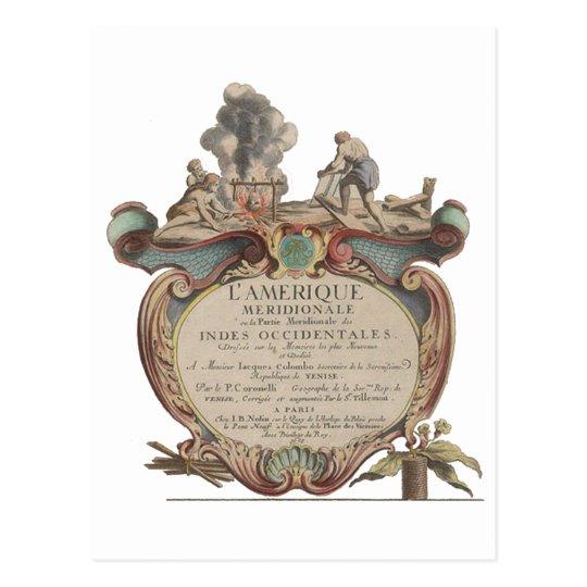Cartão Postal Postal: L'Amerique Meridionale, 1689