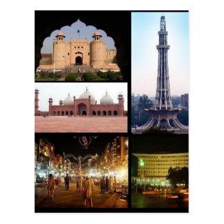 Cartão Postal Postcard Lahore Monumentos, Punjab, Paquistão