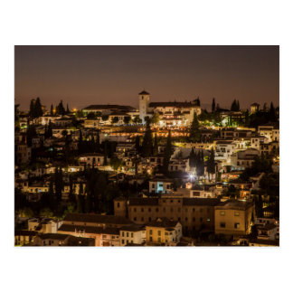 Cartão Postal Postcard Night view from Alhambra de Granada Spain