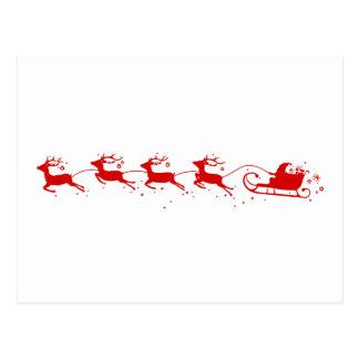 Cartão Postal Postcard Reindeers and Papai Noel