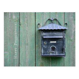 Cartão Postal Postcrossing feliz! Caixa postal