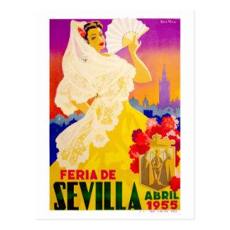 Cartão Postal Poster 1955 justo de Sevilha abril da espanha