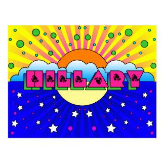 Cartão Postal Poster cósmico da celebração de Hillary do estilo