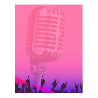 Cartão Postal Poster da audiência da noite do karaoke