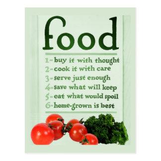 Cartão Postal Poster da comida do vintage