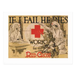 Cartão Postal Poster da cruz vermelha - se eu o falho morro