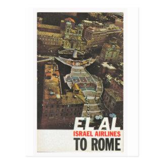 Cartão Postal Poster da propaganda, El Al a Roma
