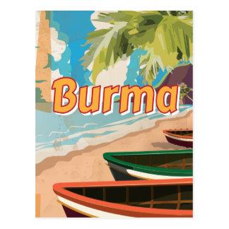 Cartão Postal Poster das férias do vintage de Burma