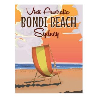 Cartão Postal Poster das viagens vintage da praia de Bondi