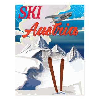 Cartão Postal Poster das viagens vintage de Áustria do esqui