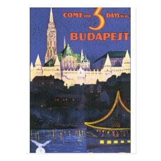 Cartão Postal Poster das viagens vintage de Budapest