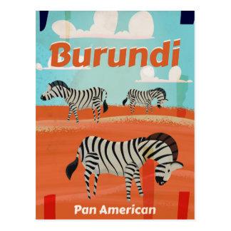 Cartão Postal Poster das viagens vintage de Burundi