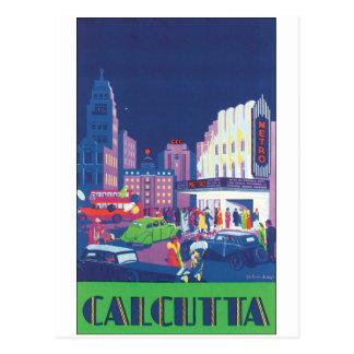 Cartão Postal Poster das viagens vintage de Calcutá