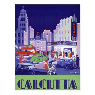 Cartão Postal Poster das viagens vintage de Calcutá restaurado