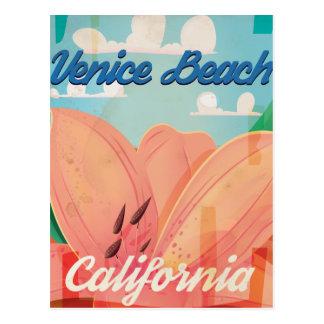 Cartão Postal Poster das viagens vintage de Califórnia da praia