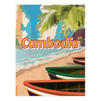 Cartão Postal Poster das viagens vintage de Cambodia