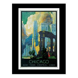 """Cartão Postal Poster das viagens vintage de """"Chicago"""""""
