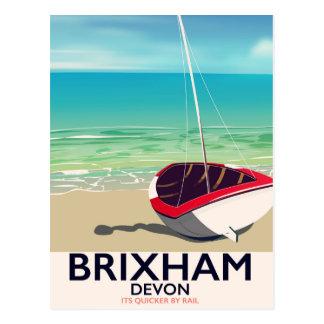Cartão Postal Poster das viagens vintage de Devon da praia de