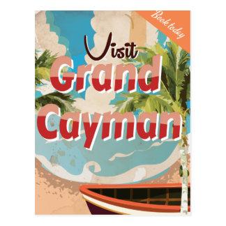 Cartão Postal Poster das viagens vintage de Grande Caimão