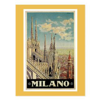 Cartão Postal Poster das viagens vintage de Milão Italia