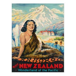 Cartão Postal Poster das viagens vintage de Nova Zelândia