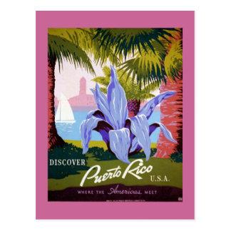 Cartão Postal Poster das viagens vintage de Puerto Rico