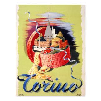 Cartão Postal Poster das viagens vintage de Torino Turin Italia