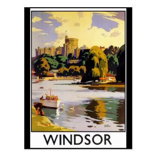 Cartão Postal Poster das viagens vintage do castelo de Windsor