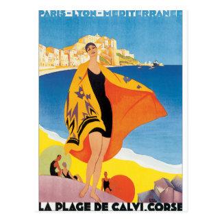 Cartão Postal Poster das viagens vintage do de Calvi Corse do