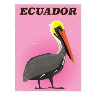 Cartão Postal Poster das viagens vintage do pelicano de Equador