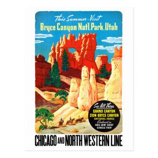 Cartão Postal Poster das viagens vintage dos EUA Utá restaurado