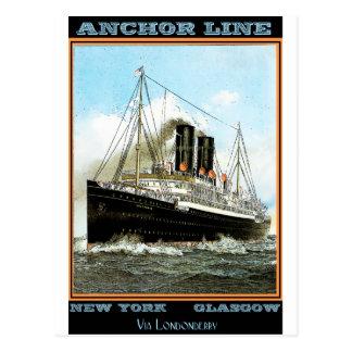 Cartão Postal Poster das viagens vintage: Linha da âncora