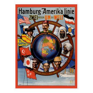 Cartão Postal Poster das viagens vintage: Linha de