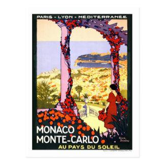 Cartão Postal Poster das viagens vintage, Monte - Carlo