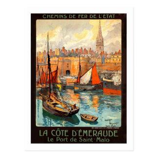 Cartão Postal Poster das viagens vintage, santo Malo