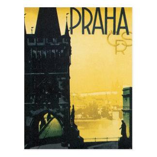 Cartão Postal Poster de Praha do vintage
