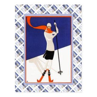 Cartão Postal Poster de Raulway do suíço do vintage, esqui