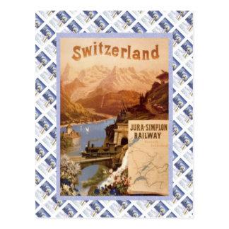 Cartão Postal Poster de Raulway do suíço do vintage, Jura