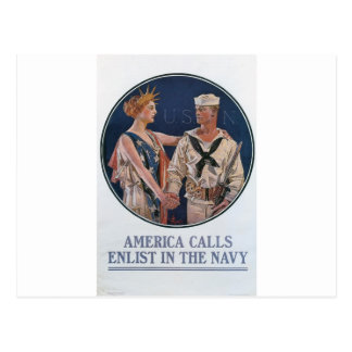 Cartão Postal Poster de recrutamento do marinho velho cerca de