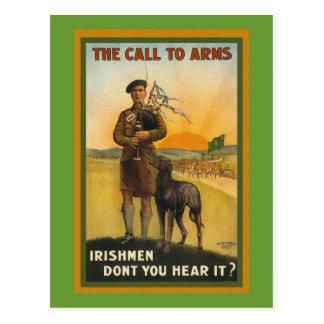 Cartão Postal Poster de recrutamento irlandês de WWI