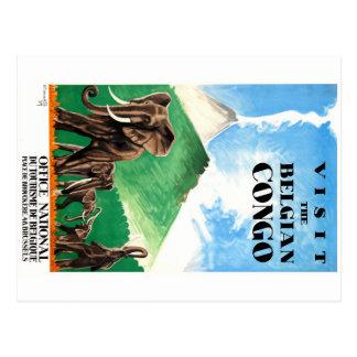 Cartão Postal Poster de viagens 1939 dos elefantes de Congo