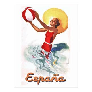 Cartão Postal Poster de viagens 1940 da praia da espanha