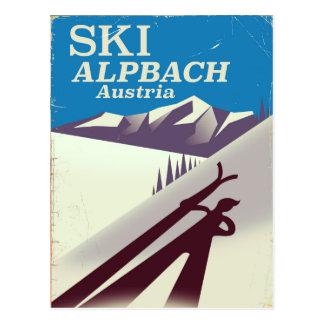 Cartão Postal Poster de viagens austríaco do esqui de Alpbach