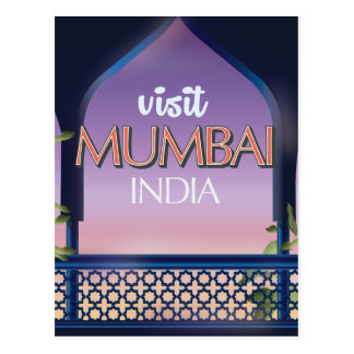 Cartão Postal Poster de viagens do estilo do vintage de Mumbai