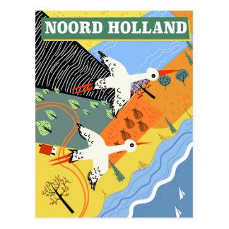 Cartão Postal Poster de viagens do estilo do vintage de Noord